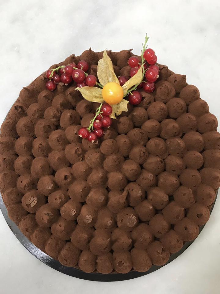Génoise chocolat, ganache au chocolat noir