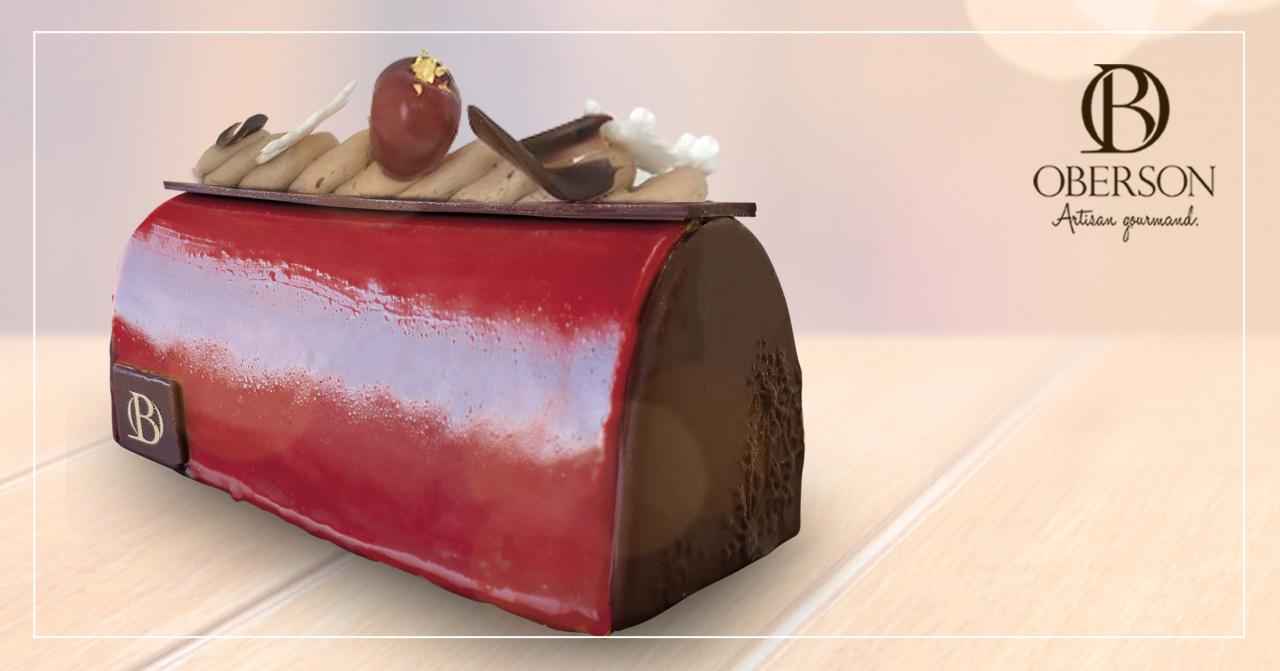 Biscuit chocolat, Compotée de cerise rouge, Mousse et croustillant chocolat, Glaçage cerise rouge