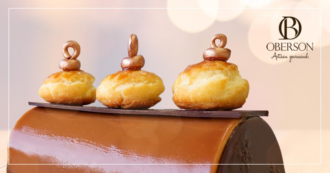 Biscuit pâte à choux, Croustillant chocolat-praliné, Crémeux, Mousse et glaçage praliné
