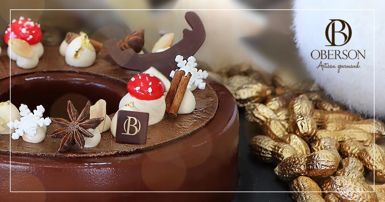 Uniquement à 60 exemplaires Biscuit chocolat aux épices de Noël, Caramel au beurre salé et cacahuète, Mousse au chocolat Grand Cru, Glaçage chocolat