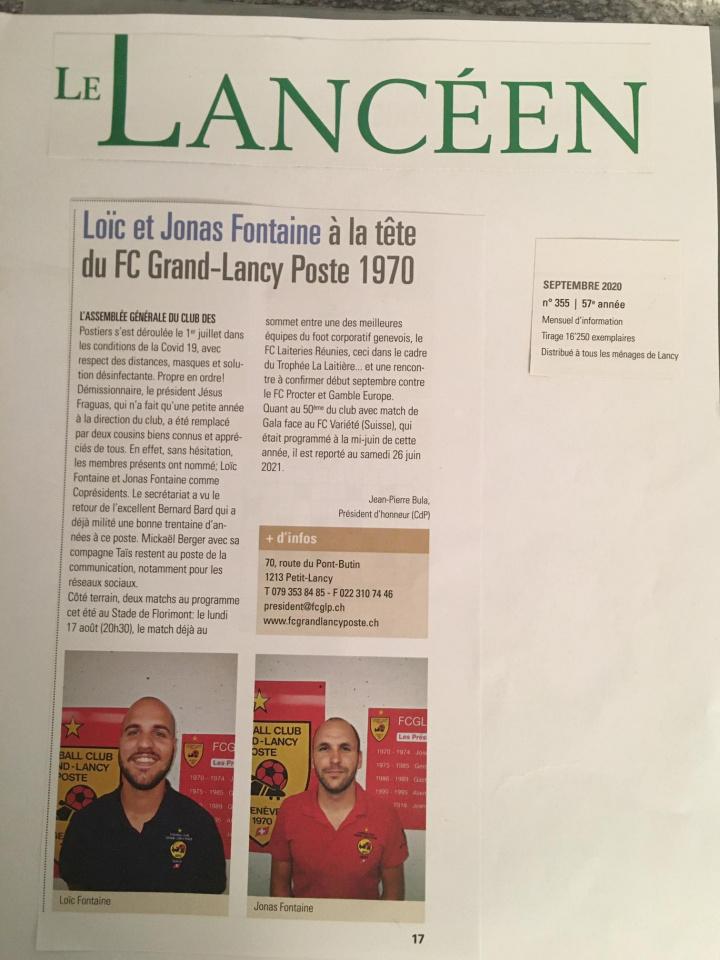 Photos des matchs du FC Grand-Lancy Poste 1970